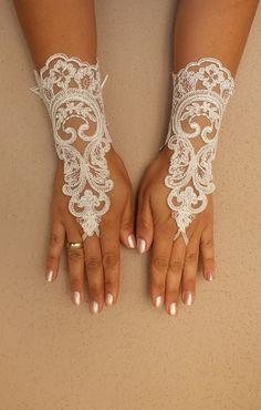 FREE SHIP Wedding Gloves ivory lace gloves  by WEDDINGHome on Etsy, $30.00