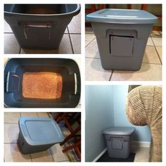 DIY cat litter box. Just draw the square & holes, then use an exacto knife & some string. Costs about $5 w/o litter. Kitty litter box DIY easy inexpensive cheap