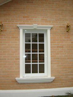 Exterior Window Molding, Window Molding Trim, Moldings And Trim, House Window Design, Window Grill Design, House Front Design, Stone Exterior Houses, Bungalow Exterior, Cornice Design