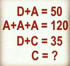 D + A = 50 Math Puzzle #mathpuzzle #brainteaser #WhatsappPuzzle Mind Games Puzzles, Maths Puzzles, Math Games, Best Love Failure Quotes, Logic Questions, Brain Riddles, Reto Mental, Latest Jokes, Math Magic