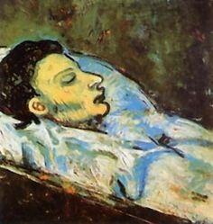 la muerte de Casagemas, 1901.oil onwood panel 27x45cm