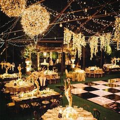 rustic backyard wedding decor with lights / http://www.deerpearlflowers.com/romantic-wedding-lightning-ideas/2/
