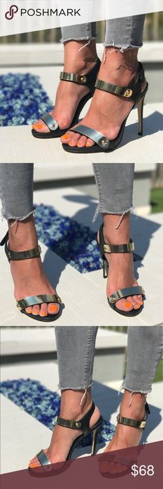 Gold Hardware Ankle Strap Sandal 👠 Brand: Boutique  ❌ NO TRADES EVER  🎁 New in Box  🌟 True to Size   Sharpen up an everyday style with these high heel sandals. Velcro closure. Platform measures approximately .50'' Gold Hardware. Black Vegan Leather. Rubber sole. Boutique Shoes Sandals