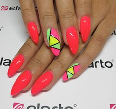 Mix of neons:) Created by: http://skroc.pl/62019 more: www.elarto.pl #pink #manicure #colors #elarto #nails #nailart
