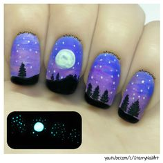 Easy Glow in the Dark Landscape [Freehand Nail Art]