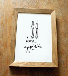 French Kitchen Print - Kitchen Print with Bon Appétite illustration. £10.00, via Etsy.