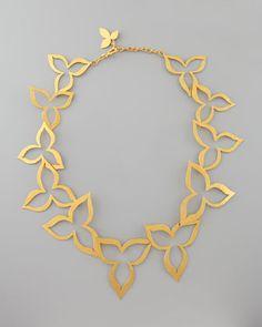 Hammered Gold Flower Necklace by Herve Van Der Straeten at Bergdorf Goodman.