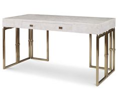 Delano Inlaid OnyxDeskwithSingle Drawer Top with Bronze Finish Metal Base and Hardware