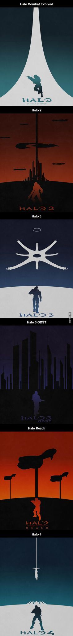 Series of Halo Minimalist-style Posters