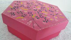 Caixa pintada a mão Coleção Rosa Floral