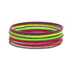 Bracelets with silver and purple, yellow, green, pink and green colours by Lisbeth Dahl Copenhagen Spring/Summer 13. #LisbethDahlCph #Neon #Colour #Bracelets