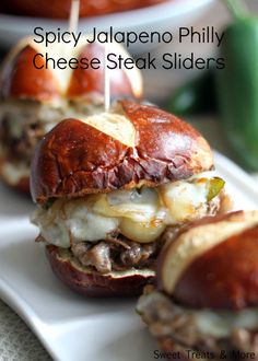 Spicy Jalapeno Cheese Steak Sliders- cream cheese, provolone, sliced steak, grilled onions and bell peppers- easy!