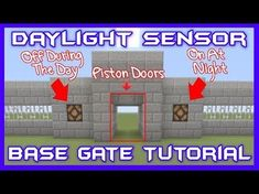 Daylight Sensor Base Gate w/Lights Tutorial [Minecraft Bedrock Edition][MCPE] Protect yourself from unwanted mob attacks with this awesome base gate tutorial. Minecraft Redstone, Easy Minecraft Houses, Minecraft Castle, Minecraft Plans, Minecraft Videos, Minecraft Survival, Minecraft Decorations, Minecraft Games, Minecraft Tutorial