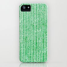 Stockinette Green iPhone Case by Elisa Sandoval - $35.00