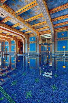 Indoor Azure Roman Pool - Hearst Castle, California   (The castle was designed by architect Julia Morgan from 1919-1947 for William Hearst)