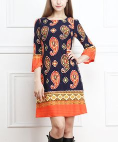 This Navy & Orange Paisley Bell Three-Quarter Sleeve Dress by Reborn Collection is perfect! #zulilyfinds