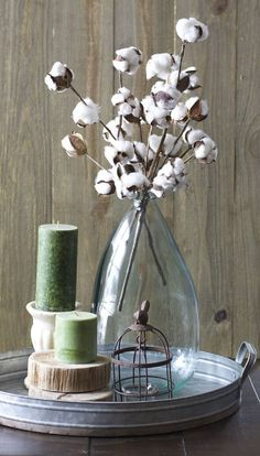 These Small Cotton Stems make a big impact in any space! Add to a vase for a beautiful centerpiece! Pair with our Cotton Wreath for a beautiful Farmhouse look! - One bundle of 3 preserved cotton stems #rustichomedecor
