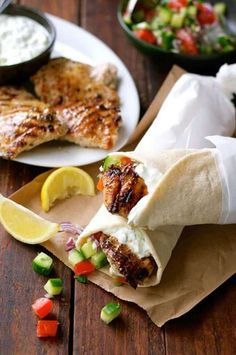 Greek Chicken Gyros with Tzatziki - the marinade for the chicken is so good I use it even when I m not making gyros Chicken Gyro Recipe, Chicken Gyros, Grilled Chicken, Chicken Recipes, Chicken Curry, Tzatziki, Healthy Cooking, Healthy Recipes, Easy Cooking