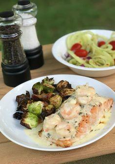 Baked Salmon With Lemon Parmesan Shrimp Healthy Salmon Recipes, Lemon Recipes, Fish Recipes, Seafood Recipes, Cooking Recipes, Seafood Meals, Cooking Tips, Baked Salmon Lemon, Seafood