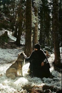 """A dog is better than I am, for he loves and he does not judge."" — Abba Xanthios, Sayings of the Desert Fathers Orthodox monk with a wolf! Peter Wohlleben, Orthodox Christianity, Orthodox Icons, Animals Of The World, Roman Catholic, Kirchen, Way Of Life, Best Dogs, Ukraine"