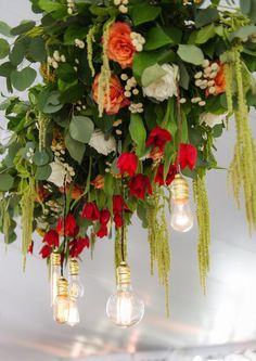 photo: Lori Gail Photography; Gorgeous wedding reception ceiling decor;