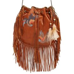 Patricia Nash 'Carrara' Drawstring Leather Crossbody Bag (770 BRL) ❤ liked on Polyvore featuring bags, handbags, shoulder bags, tan, brown leather purse, brown leather handbag, brown fringe purse, fringe crossbody purse and fringe crossbody