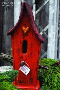 Like the color. Orange Red Decorative Birdhouse by WhimsyWoodwork Cool Bird Houses, Decorative Bird Houses, Bird House Feeder, Bird House Plans, Red Cottage, Bird Boxes, Little Houses, Yard Art, Bird Feathers