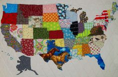 USA PATCHWORK MAP Quilt Pattern from Quilts by Elena Full Sized Templates and Clear Instructions. United States Quilt