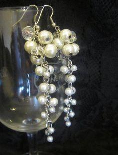 Wedding Jewelry  Cluster Earrings Bridal Pearl by SLDesignsHBJ