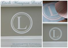 Circle Monogram Vinyl Decal using the Silhouette