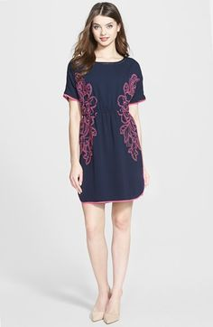 Adrianna Papell Embroidered Crepe Dress