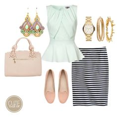 Striped pencil skirt with mint peplum top | Cute & Co.