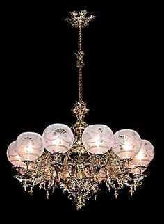 Early 1900s Venetian Crystal, Iron and Tole Ship Chandelier ...