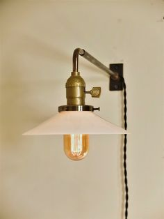 Vintage Industrial Wall Mount Light - OPAL FLAT SHADE - Machine Age Trouble Lamp Sconce, Milk Glass