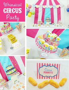 kids circus party. Pink turquoise blue yellow