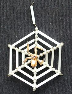 Vintage Beaded glass Christmas Ornament,        Spider on a net