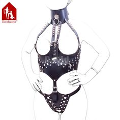 28.08$  Buy here - Davidsource Studed Queen Master Suit Breast-less Choker Vest Hollow T-back Panties Cross Dresser Fantasy Bondage Flogger Suit  #magazineonline