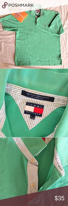 "Tommy Hilfiger Vtg 90's Green Polo Shirt Sz XL Iconic 90's style with this baggy, collared, polo-style shirt by Tommy Hilfiger. Textured pique knit fabric. Contrasting striped chambray  fabric on button placket & around bottom of collar. Embroidered crest on left chest area. (N.E. DVD is a prop only.)  Great vintage condition. Only small flaw is tiny tears on the lower side slits (please see pic).  100% cotton. Size XL.  APPROX flatlay measurements: 24"" chest, 28.5"" length (midnneck to hem…"