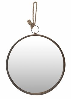 Set of 2 Large Round Mirror In Vintage Bronze With Metal Frame And Rope Hanger : Mirrors & Prints : C.C. Interiors Product Catalogue