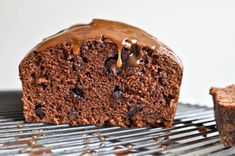 Salty Caramel Drenched Double Chocolate Loaf Cake I howsweeteats.com