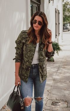 Fashion Look Featuring Gianni Bini Jackets and Levi's Distressed Denim by lechateauxstyle - ShopStyle - Source by - Camo Fashion, Military Fashion, Fashion Outfits, Camoflauge Jacket Outfit, Camouflage Outfit, Camo Dress, Camo Jacket, Bomber Jacket, Camo Outfits