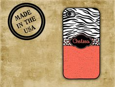 Animal print iPhone case -  Coral and black tiger - animal print Iphone 5 case personalized Iphone 4s Iphone 4 cover, rubber plastic  (9912) on Etsy, $16.99