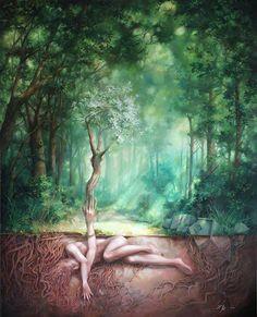Éphémères Vintage, Underground World, Visionary Art, Psychedelic Art, Surreal Art, Tree Art, Tree Of Life Artwork, Mother Earth, Fantasy Art