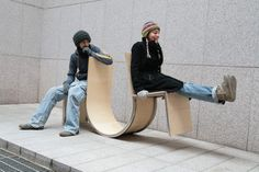 "We'll see how those work out, but for now there's designer Neulhae Cho's ""Swingers"" chair, a palindromic bench with two chairs on either end connected by a curved bridge that, like a swing or a seesaw, distributes weight from one side to another."