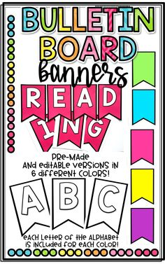 Pre-Made and Editable Bulletin Board Banners in 6 different colors- white, purple, pink, yellow, turquoise, and lime green to decorate your classroom!
