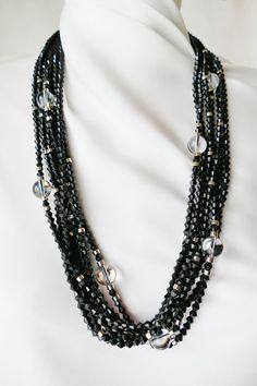 Collier multi-rangs Balenciaga vintage Laiton argenté - Perles coniques facettées façon jais - Plexi de la boutique ricomontmartre sur Etsy