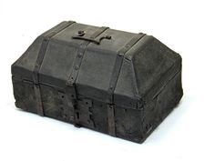 A iron bound cuir bouilli (boiled leather) casket probably Spanish 15th/16th century