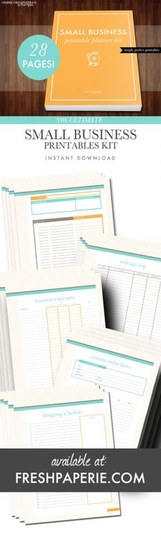 Small Business Printable Planner Kit by Fresh Paperie - WAHM - Organize your work at home business business tips Business Help, Craft Business, Business Advice, Creative Business, Online Business, Business Contact, Business Ideas Small, Business Opportunities, Filofax