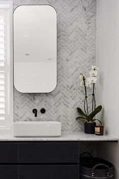 The hits and misses of ensuite reveals from The Block Rectangular mirrored shaving cabinets with rounded edges and sleek black frame in bathroom. Feature herringbone marble tile wall in bathroom Bad Inspiration, Bathroom Inspiration, Bathroom Interior Design, Bathroom Styling, Interior Walls, Simple Bathroom, Bathroom Black, Bathroom Ideas, Bathroom Marble