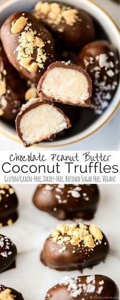 Chocolate Peanut Butter Coconut Truffles! A healthy candy recipe that's the perfect alternative for Halloween candy! Gluten & grain-free, vegan, dairy-free!